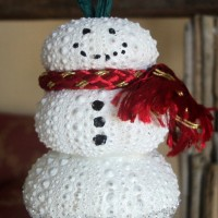diy sea urchin snow women ornament