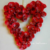 rosette book page heart wreath {Valentine's Day craft}