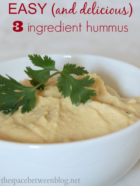 super easy and delicious 3 ingredient hummus, with substitute flavor options included