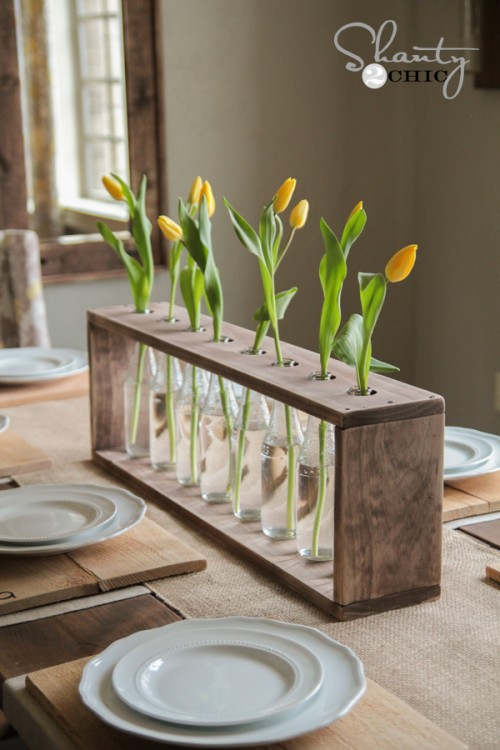 Ucylcing Ideas - bottle and wood centerpiece