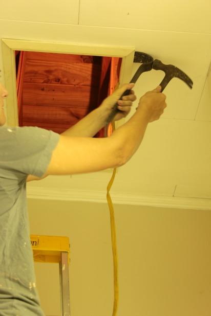 remove current attic opening trim