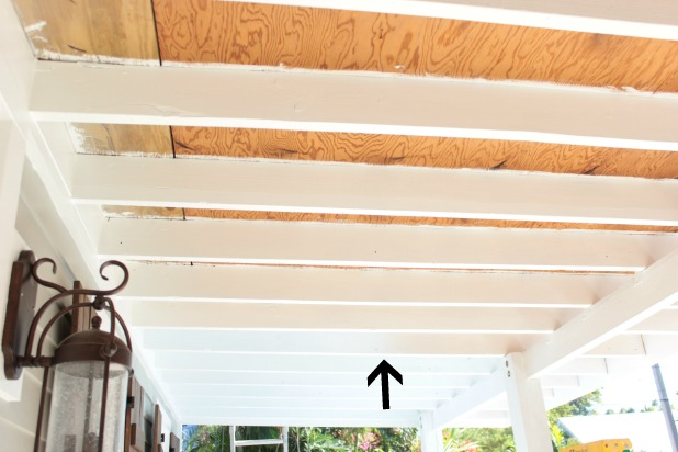 front porch progress - beadboard on the ceiling