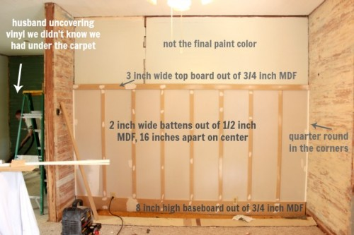 board and batten drywall base with layout description