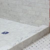Carrara Bianco Honed Long Octagon Bardiglio Gray Dot Mosaic Marble Tile