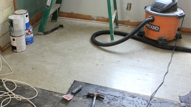 hardwood floor restoration - removing asbestos tiles