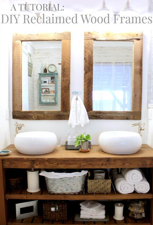 complete master bathroom renovation including this awesome DIY vanity and reclaimed wood framed mirrors, so many more beautiful details on this site