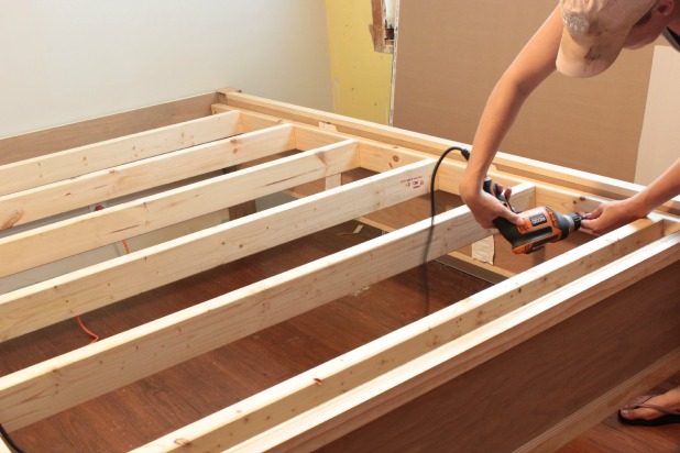 Marvelous  diy wood frame bed assembly