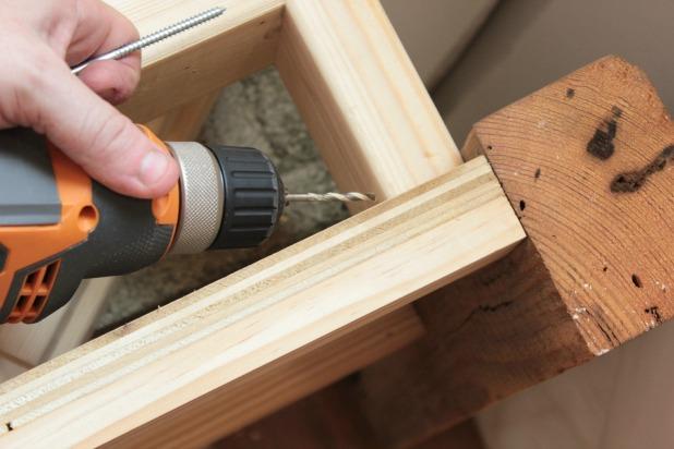 diy wood frame bed pilot holes