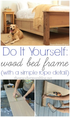 diy wood frame bed tutorial