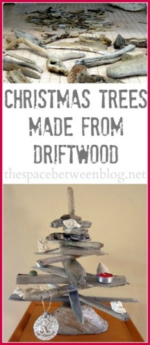 driftwood christmas tree collage