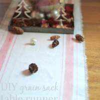 DIY grain sack table runner