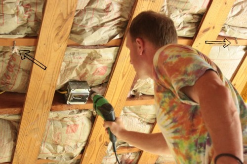 drywalling the ceiling in the guest bedroom