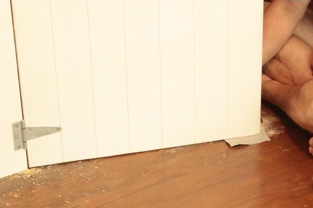 sanding down a diy wood closet door