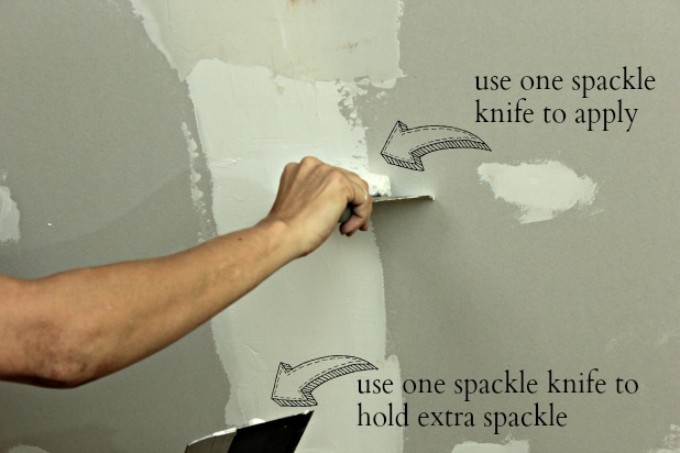 guest bedroom - drywall finishing with two spackle knives