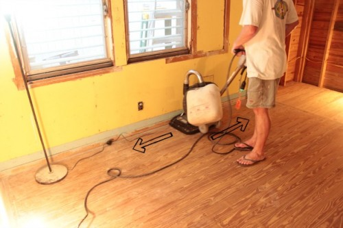 hardwood floor restoration with a square buff