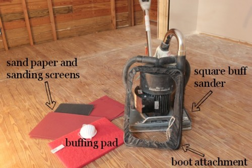 hardwood floor restoration with a square buff sander