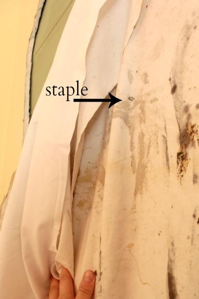 hardwood floor restoration - hanging sheets