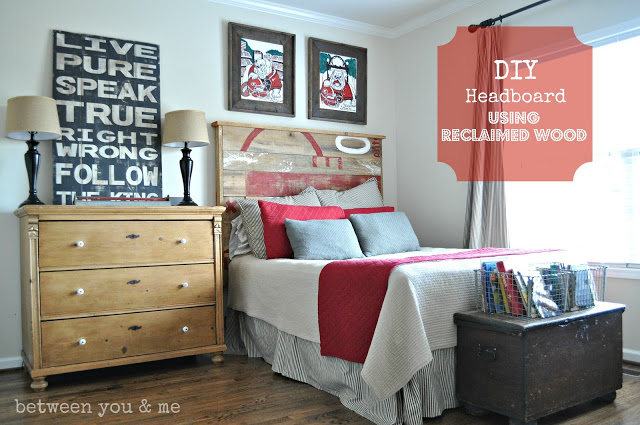 Upcycling Ideas - headboard with stenciled reclaimed wood