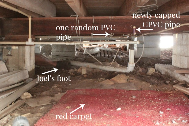how to cap a water pipe in the crawl space
