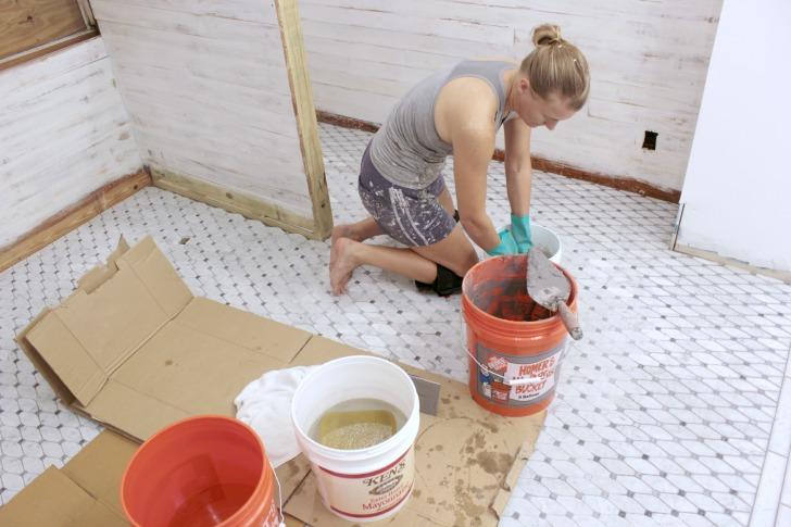 how to grout marble tile