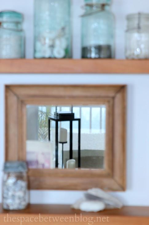 lanterns in mirror reflection