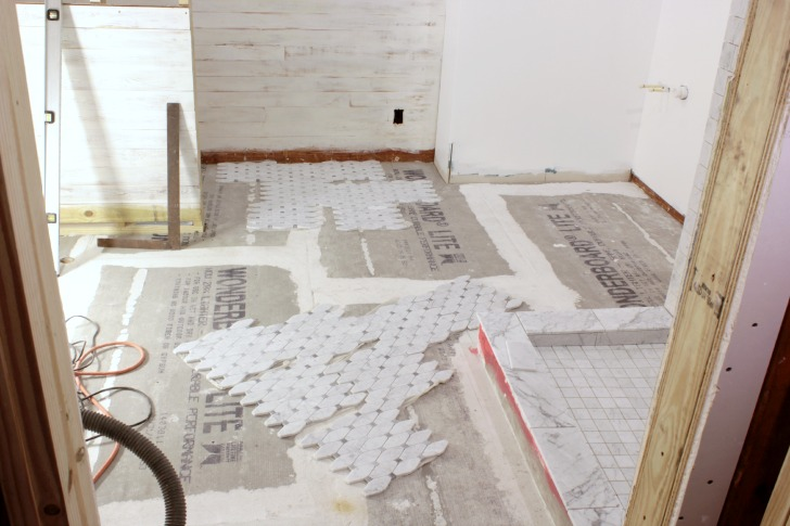 Carrara Bianco Honed Long Octagon Bardiglio Gray Dot Mosaic Marble Tile