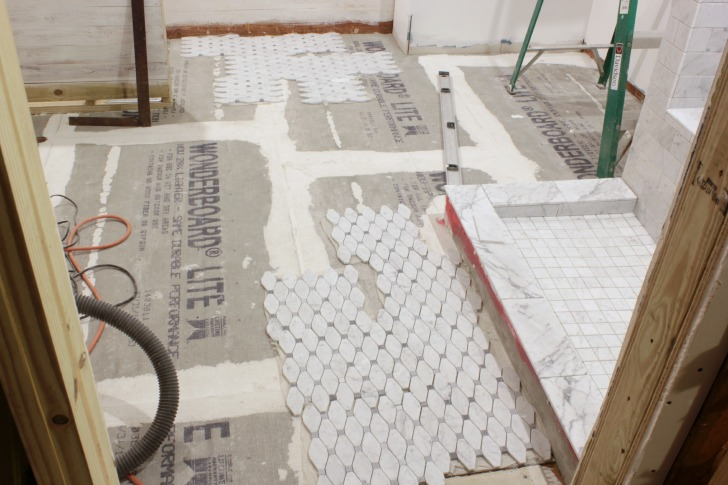 long octagon gray dot marble tile