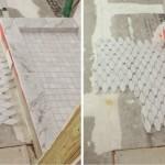 laying irregular tile