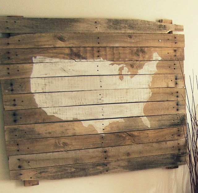 upcylcing ideas - American Map Silhouette Art