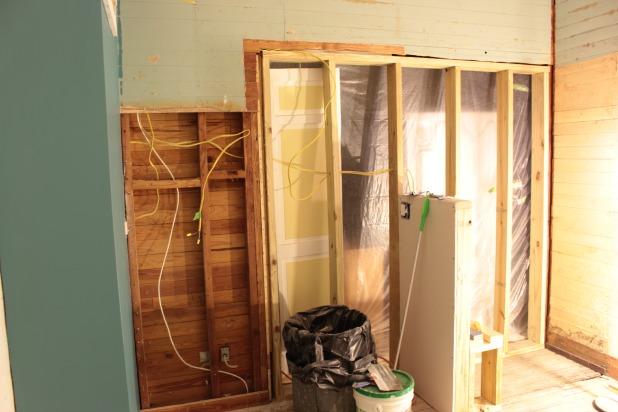 master renovation vanity and shower wall