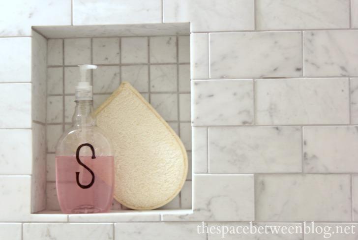 monogrammed shampoo bottle in the master bathroom