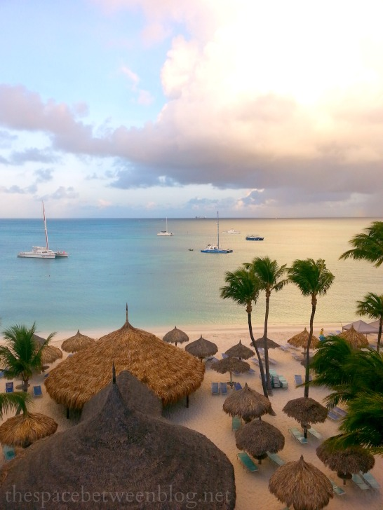 Palm Beach Aruba with the early morning sun - this blogger lives there, so many beautiful island photos on the blog