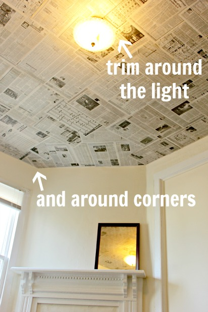 Ceiling Light Cover Stuck : Newspaper as a creative wall covering