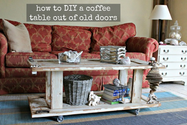 how to make a wood coffee table out of old doors {assembly process}
