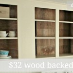 open cabinets with wood backing