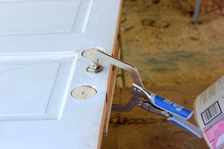 prepping an old door to become a pocket door