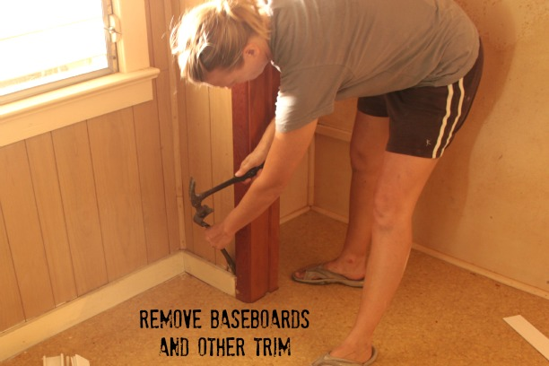 remove baseboards with a pry bar