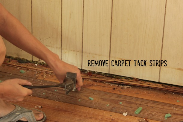 remove carpet tack strips with a pry bar
