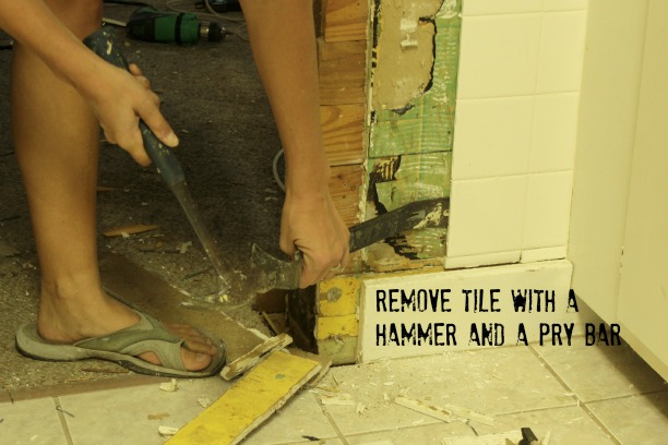 remove tile with a pry bar