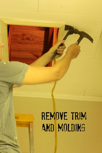 remove any trim and molding with a pry bar