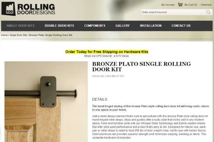 easy to install rolling door hardware