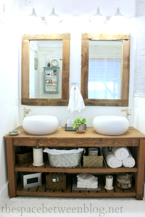 . DIY wood vanity in the master bathroom