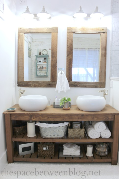 Framed Bathroom Mirrors Rustic upcycling idea: diy reclaimed wood framed mirrors