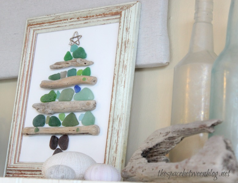 Sea glass and driftwood christmas craft for Craft ideas for driftwood