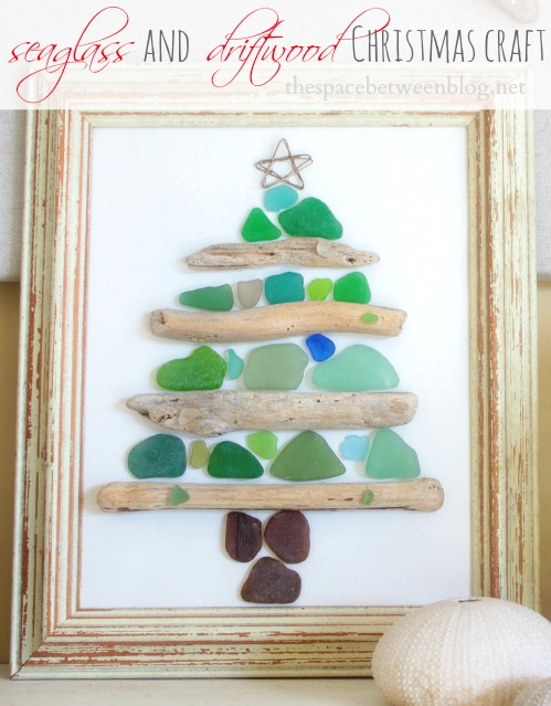 seaglass and driftwood christmas craft from the space between - Glass Christmas Trees