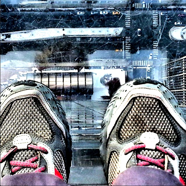 view straight down from the Willis Tower in Chicago