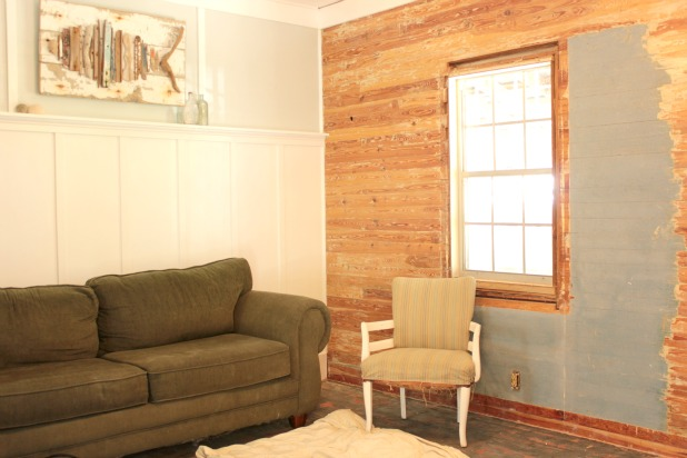 stripped wood slat walls