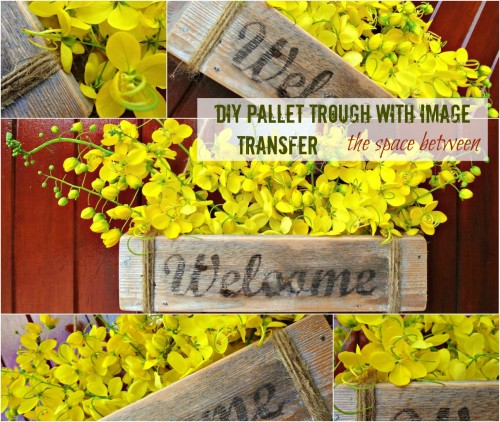 the space between diy pallet trough with image transfer