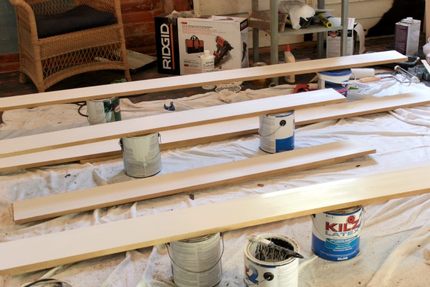 priming our DIY trim and molding