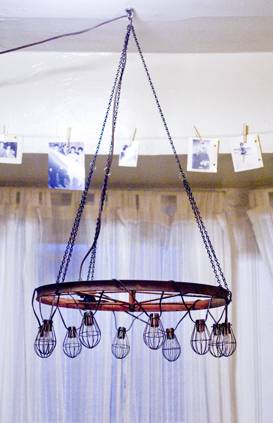 diy chandelier - old wheel